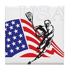 Cute Usa lacrosse Tile Coaster
