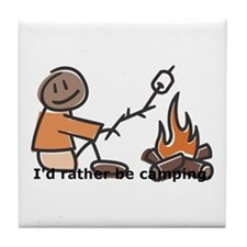 Campfire Rather be camping Tile Coaster