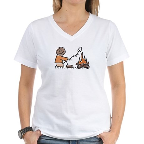 Campfire Rather be camping Women's V-Neck T-Shirt
