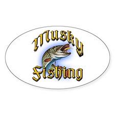 Musky Fishing 2 Oval Decal