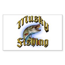 Musky Fishing 2 Rectangle Decal