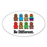 Be Different Ducks Oval Sticker (10 pk)