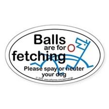 Fetching balls Oval Decal