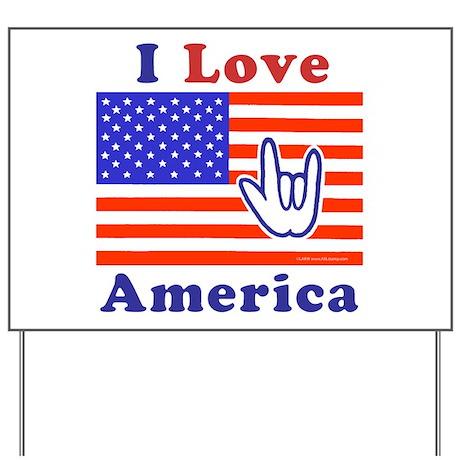 ILY America Flag Yard Sign