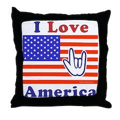 ILY America Flag Throw Pillow