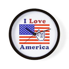 ILY America Flag Wall Clock