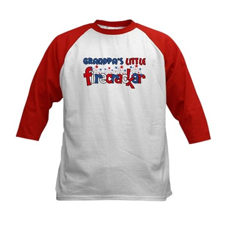 Grandpa's Little Firecracker Kids Baseball Jersey