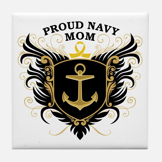 Proud Navy Mom Tile Coaster