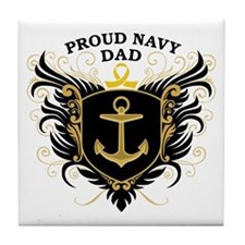 Proud Navy Dad Tile Coaster