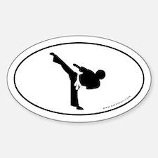 Martial Arts Euro Bumper Oval Sticker -White