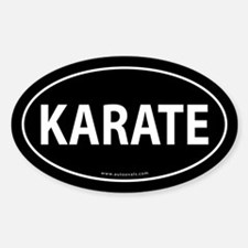 Karate Euro Bumper Oval Sticker -Black