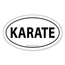 Karate Euro Bumper Oval Sticker -White