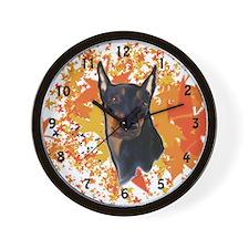 German Pinscher portrait Wall Clock