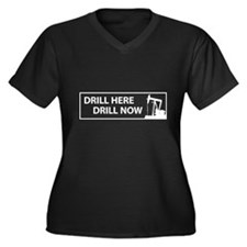Drill Here Drill Now Women's Plus Size V-Neck Dark