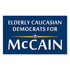 Elderly Caucasian Democrats For McCain Decal