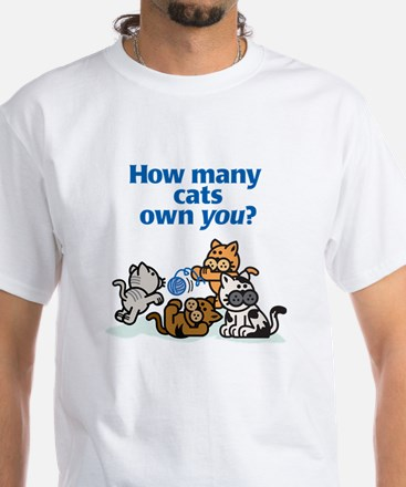 How Many Cats? White T-Shirt