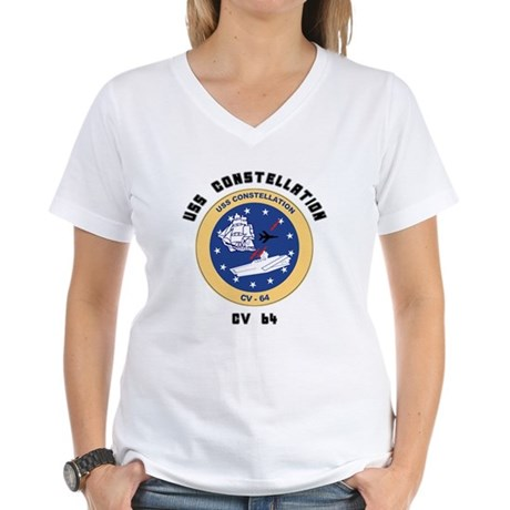 USS Constellation CV-64 Women's V-Neck T-Shirt