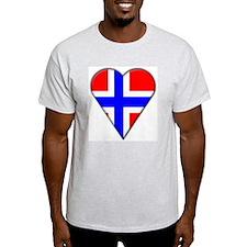 Norway Heart-Shaped Flag Ash Grey T-Shirt
