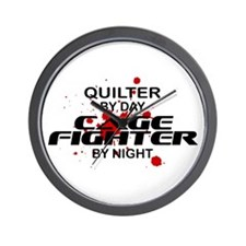 Quilter Cage Fighter by Night Wall Clock