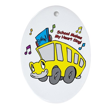 School Heart Sing Oval Ornament