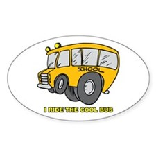 I Ride Cool Bus Oval Decal