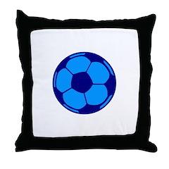 Blue Soccer Ball Throw Pillow