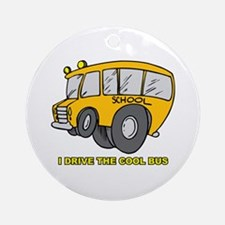 I Drive Cool Bus Ornament (Round)
