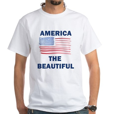 American Flag Pride White T-Shirt