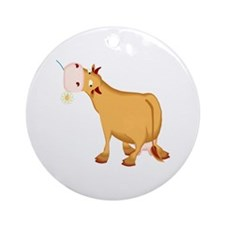 Cow with Flower Ornament (Round)