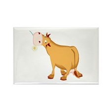 Cow with Flower Rectangle Magnet (100 pack)