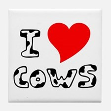 I Heart Cows Tile Coaster