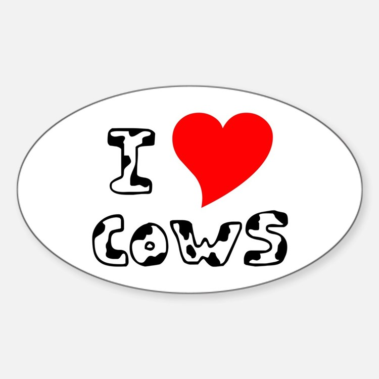 I Heart Cows Oval Decal