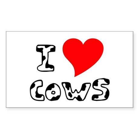 I Heart Cows Rectangle Sticker