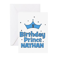 1st Birthday Prince Nathan! Greeting Cards (Pk of