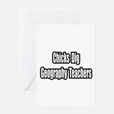 """""""Chicks Dig Geography..."""" Greeting Cards (Pk of 20"""