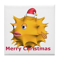 Christmas puffer fish Tile Coaster