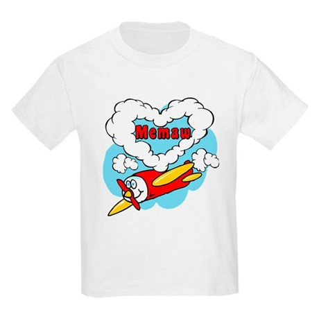 Love Memaw Cute Airplane Kids Light T-Shirt