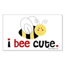 I Bee Cute Rectangle Decal