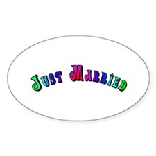 Rainbow Just Married Gay Oval Decal
