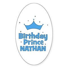 Birthday Prince Nathan! Oval Decal