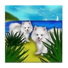 AMERICAN ESKIMO DOGS BEACH Tile Coaster