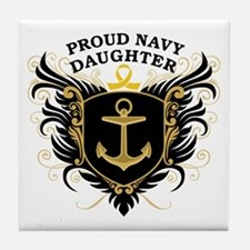 Proud Navy Daughter Tile Coaster