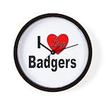 I Love Badgers Wall Clock