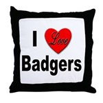 I Love Badgers Throw Pillow
