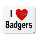 I Love Badgers Mousepad