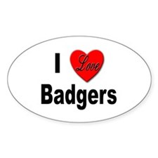 I Love Badgers Oval Decal