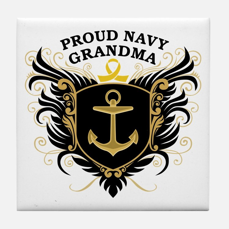 Proud Navy Grandma Tile Coaster