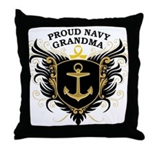 Proud Navy Grandma Throw Pillow