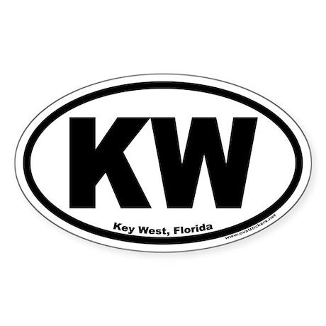 """Key West, Florida Oval """"KW"""" Sticker"""