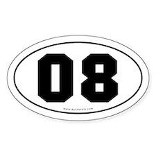 #08 Euro Bumper Oval Sticker -White
